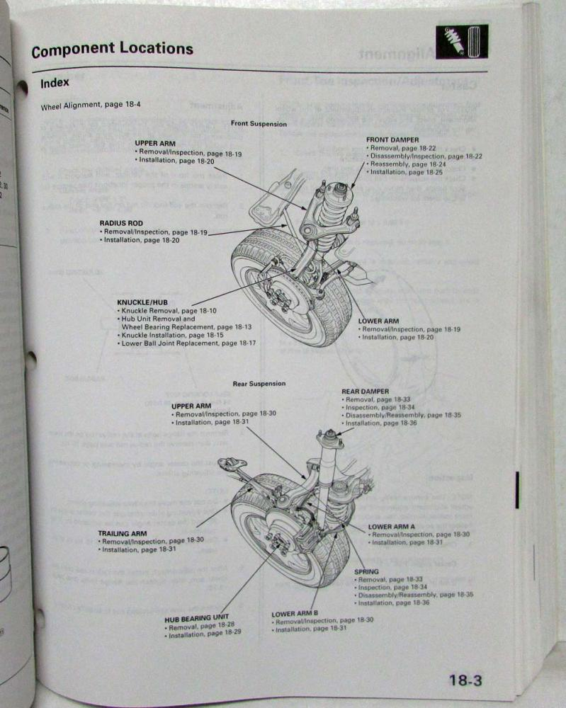 1996 Honda Odyssey Service Shop Repair Manual Suspension Diagram