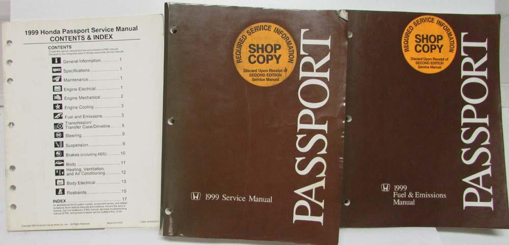 1999 Honda Passport Service Shop Manual Fuel Emissions Contents Index