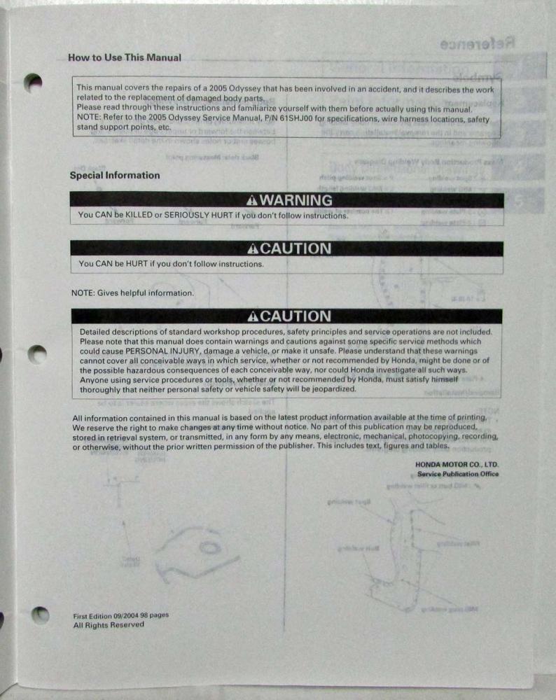 2005 Honda Odyssey Van Body Repair Service Manual Wiring Harness