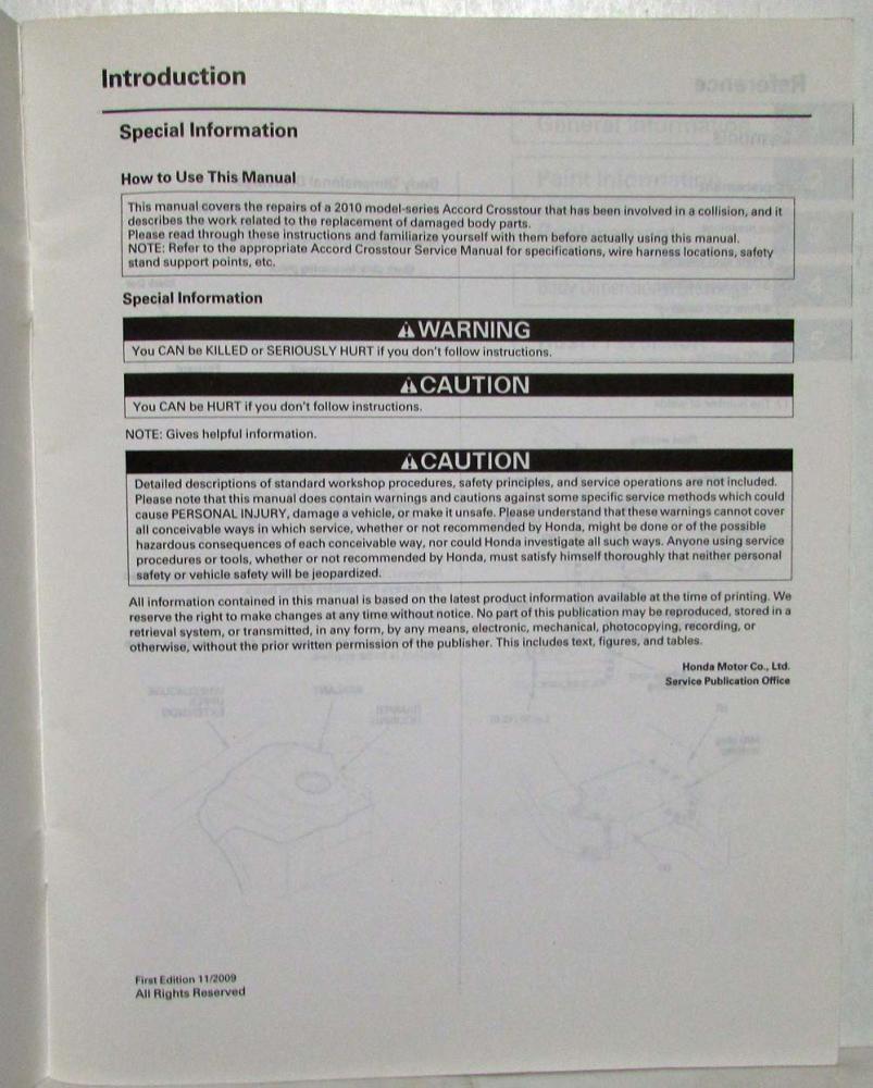 2010 Honda Accord Crosstour Body Repair Service Manual Wiring Harness