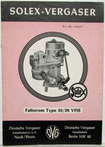 1950-1959 VW Solex-Vergaser 26/28 Carburetor Sales Brochure - German Text