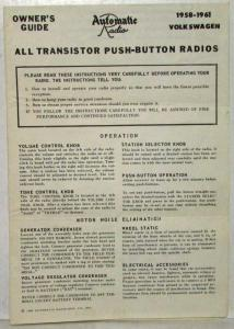 1958-1961 VW Automatic Radio Owners Guide - Instructions - Schematic - Part List