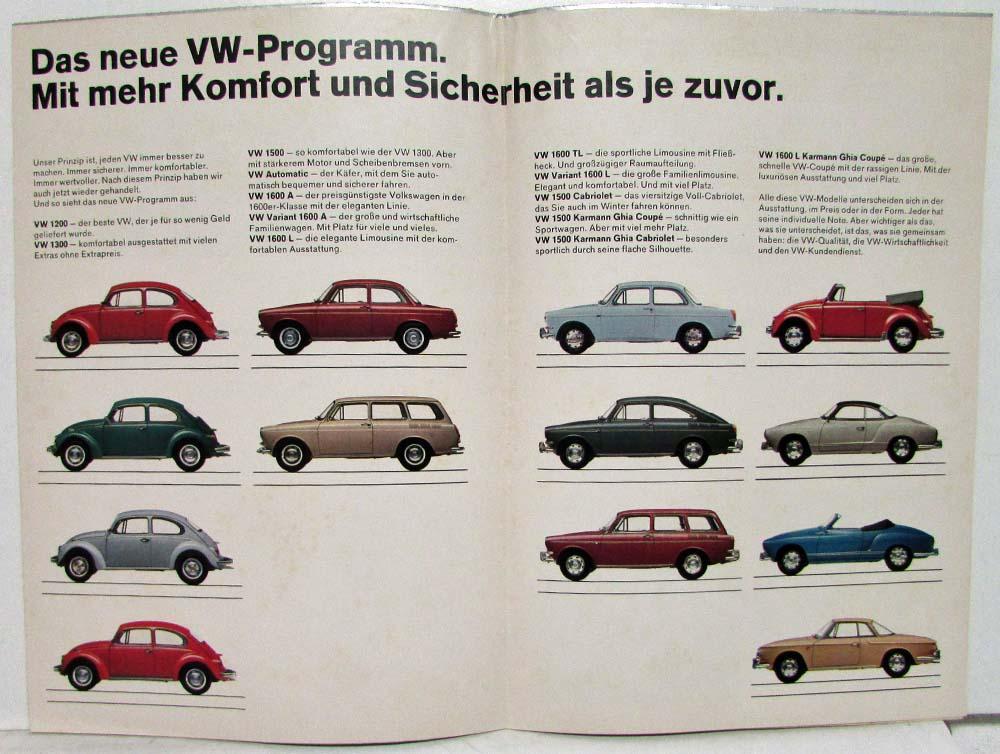 1968 Volkswagen New Vw Program Sales Folder Poster German Text