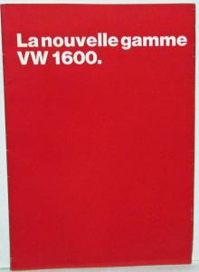 1970 Volkswagen The New VW 1600 Range Oversized Sales Brochure - French Text