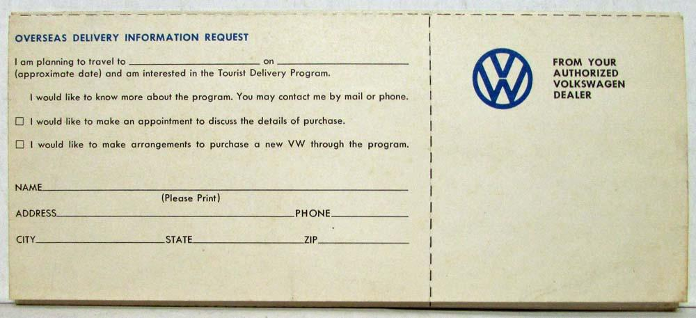 1971 Volkswagen European Delivery Here Drive There Bring Back S Folder