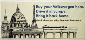 1971 Volkswagen European Delivery Buy Here Drive There Bring Back Sales Folder