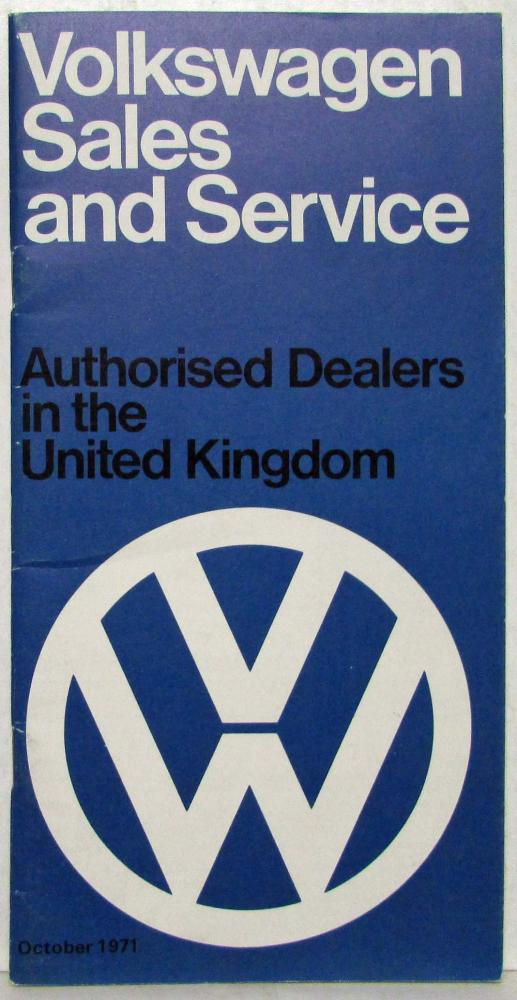1972 VW Sales & Service List of Autorised Dealers in the UK - London Auto Show