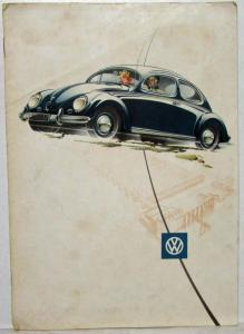 1954 Volkswagen Beetle Sales Brochure Sedans Sun Roof and Convertible