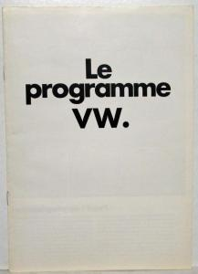1973 VW Le Programme Full Line Sales Brochure - French Text