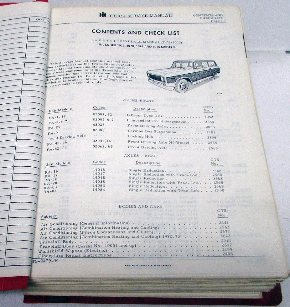 1972 1973 1974 1975 international ih travelall cts-2303 service shop manual  orig