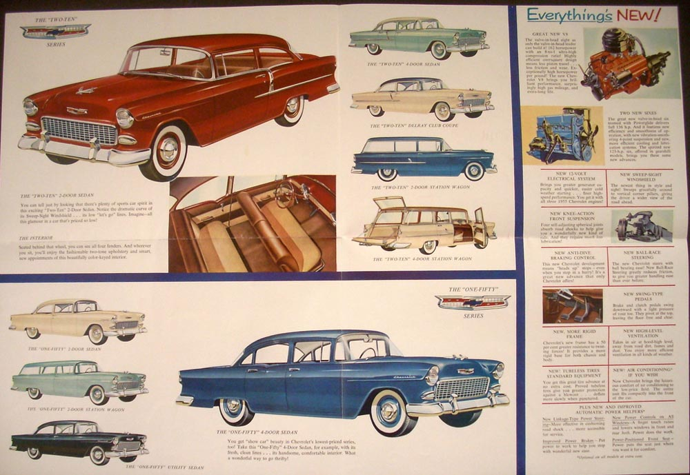 1955 Chevrolet Bel Air Two Ten One Fifty V8 V6 Models