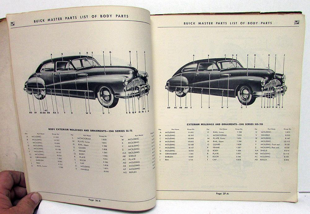 1928 to 1947 Inclusive Buick Master Parts List Catalog Book ...  Buick Engine Parts Diagram on