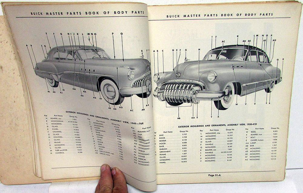 1928 To 1952 Buick Master Body Parts Book Catalog Original