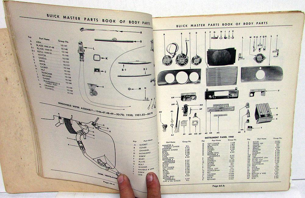 Superb 1928 To 1952 Buick Master Body Parts Book Catalog Original Full Line Wiring 101 Cranwise Assnl