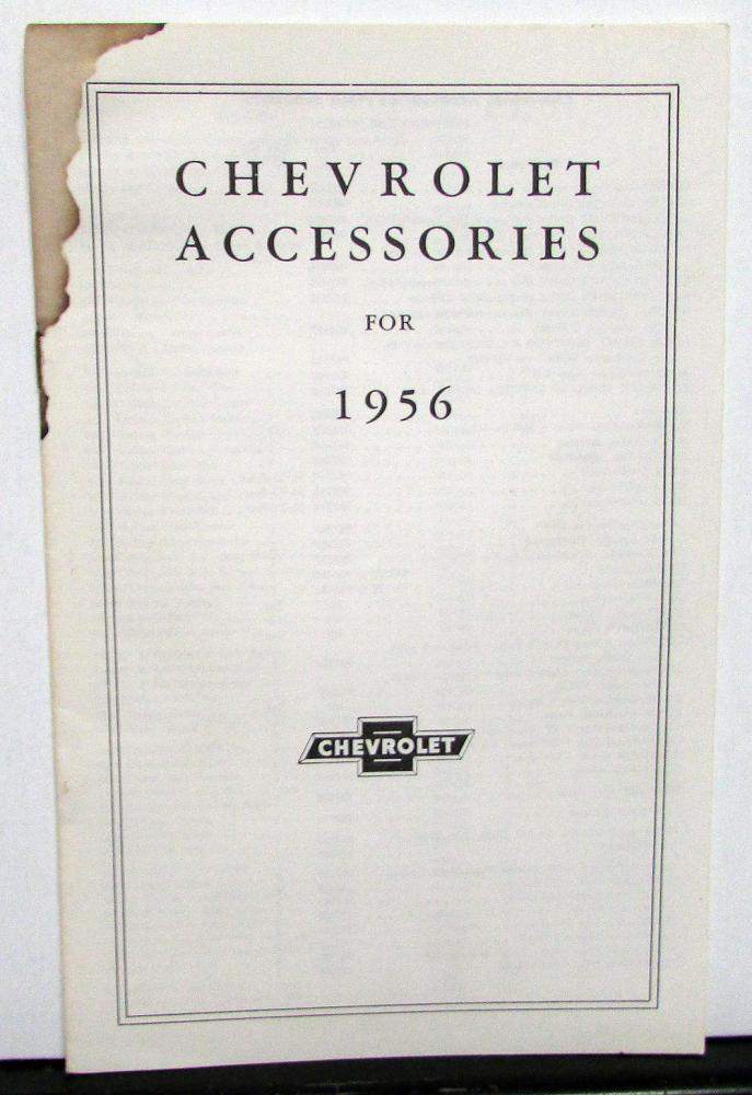 1956 Chevrolet Dealer Accessories Parts List Numbers Original Car and Truck