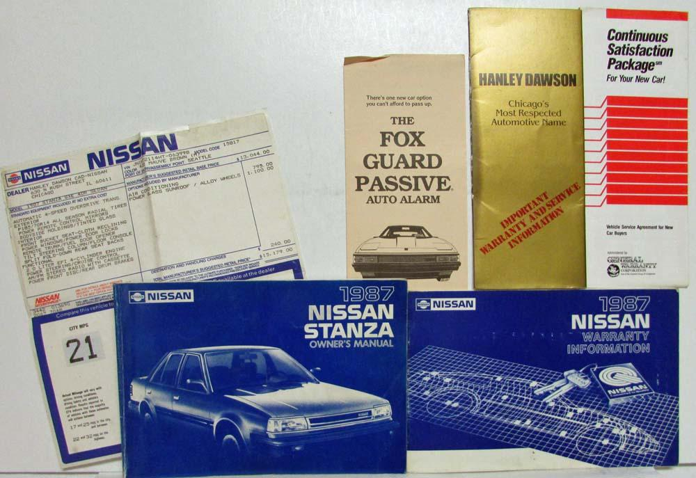 1987 Nissan Stanza Owners Manual with Warranty Information & Extras