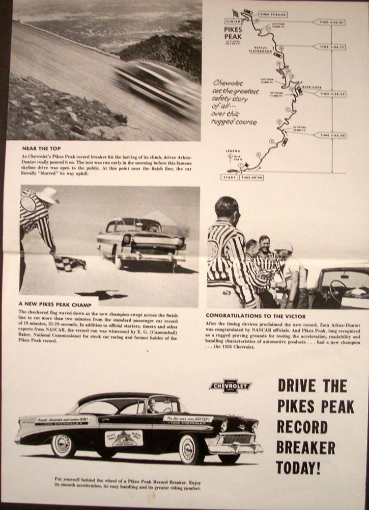 1956 Chevrolet Pikes Peak Record Nascar Bill France Cannonball Baker Folder Orig