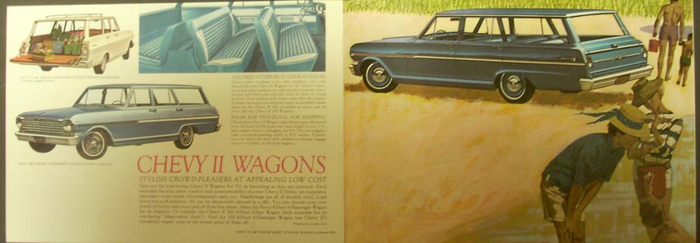 1963 Chevrolet Chevy II Nova 400 Chevy II 100 & 300 Wagons Color Sales Brochure
