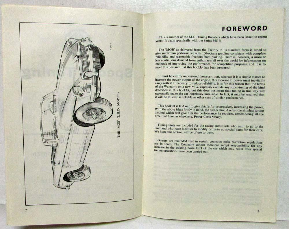 1964 MG MGB 1800cc Engine Special Tuning Guide