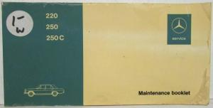 1971 Mercedes Benz 220 250 250C Maintenance Booklet