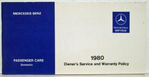 1980 Mercedes Benz Domestic Passenger Cars Owners Service & Warranty Policy