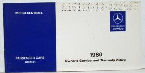 1980 Mercedes Benz Tourist Passenger Cars Owners Service & Warranty Policy
