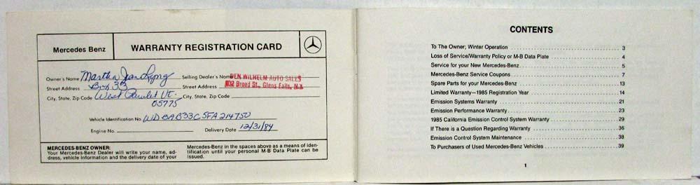 1985 Mercedes Benz 300D 300CD Turbo Diesel Owners Manual
