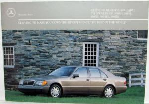 1991 Mercedes Benz Guide to Benefits for 300SD 300SE 400SE 500SEL 600SEL Owners
