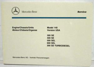 1990 Mercedes Benz 300-400SE 500-600 SEL 300SD Model 140 USA Illus Parts Catalog