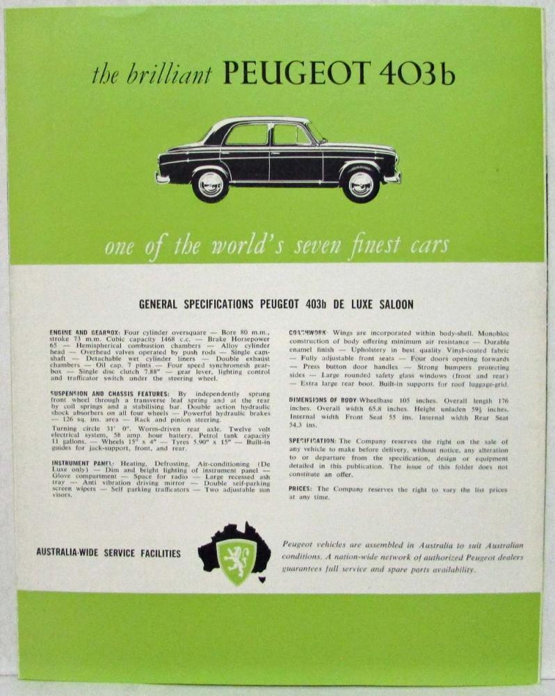 1963 Peugeot 403b Now An Even Better Car Sales Folder