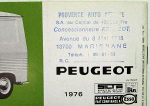 1976 Peugeot 204 404 & J7 Sales Brochure - French Text