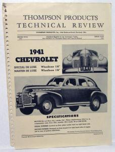 1941 Thompson Products Technical Review Of Chevrolet Special Master De Luxe