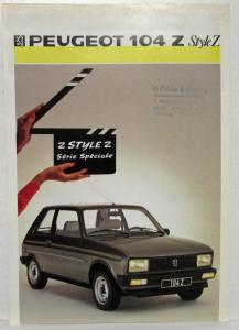 1986 Peugeot 104Z Style Z Sales Brochure - French Text