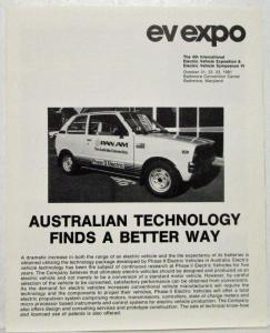1982 EV Expo Brochure with Phase II Van and Car