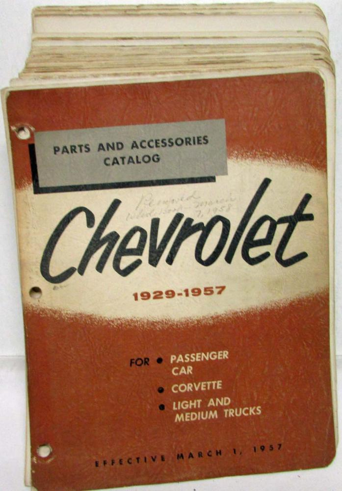 1929-1957 Chevrolet Passenger Car Corvette Lt & Med Trucks Parts & Acces Catalog