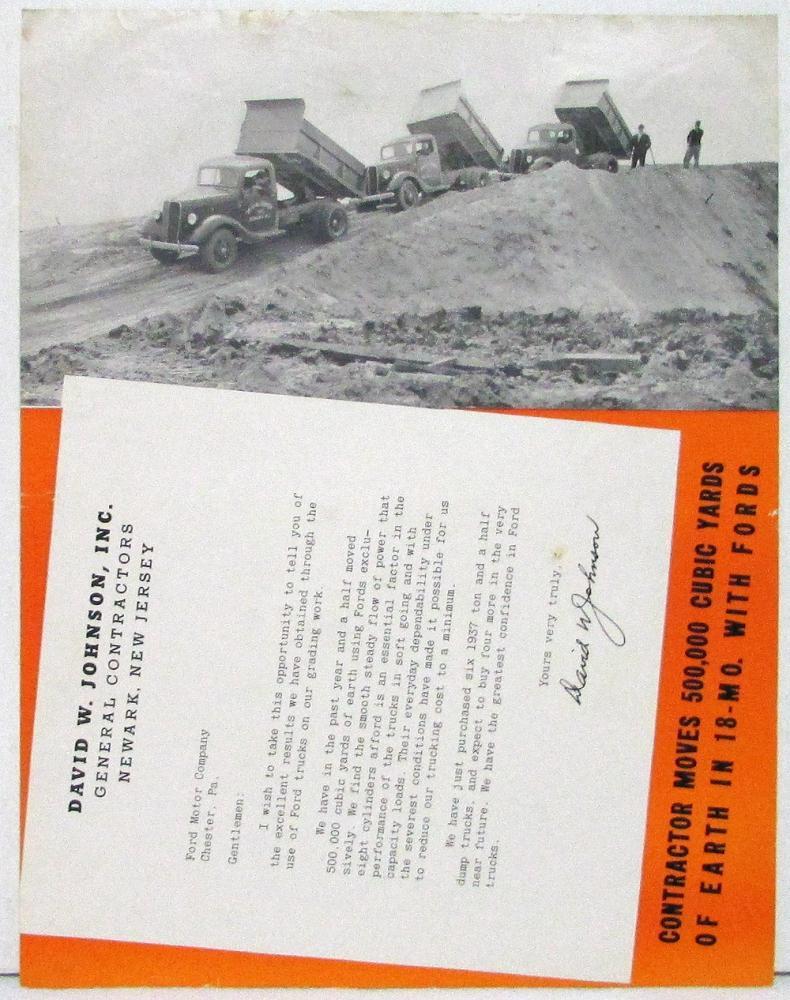 1937 Ford Truck Testimonial Flyer Original Johnson