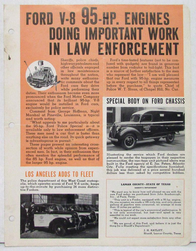 1940 Ford V-8 Law Enforcement Vehicles Sales Folder for