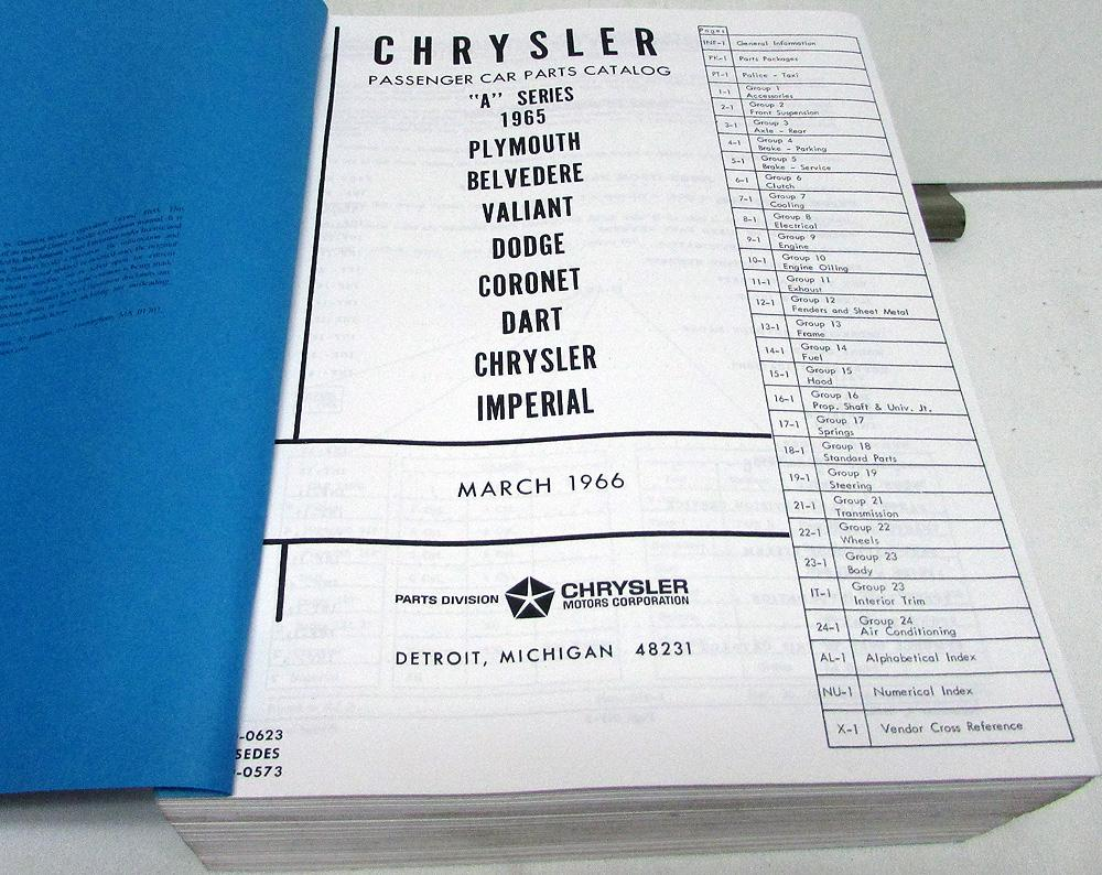 1965 Chrysler Plymouth Dodge Dealer Parts Manual Belvedere Coronet Barracuda