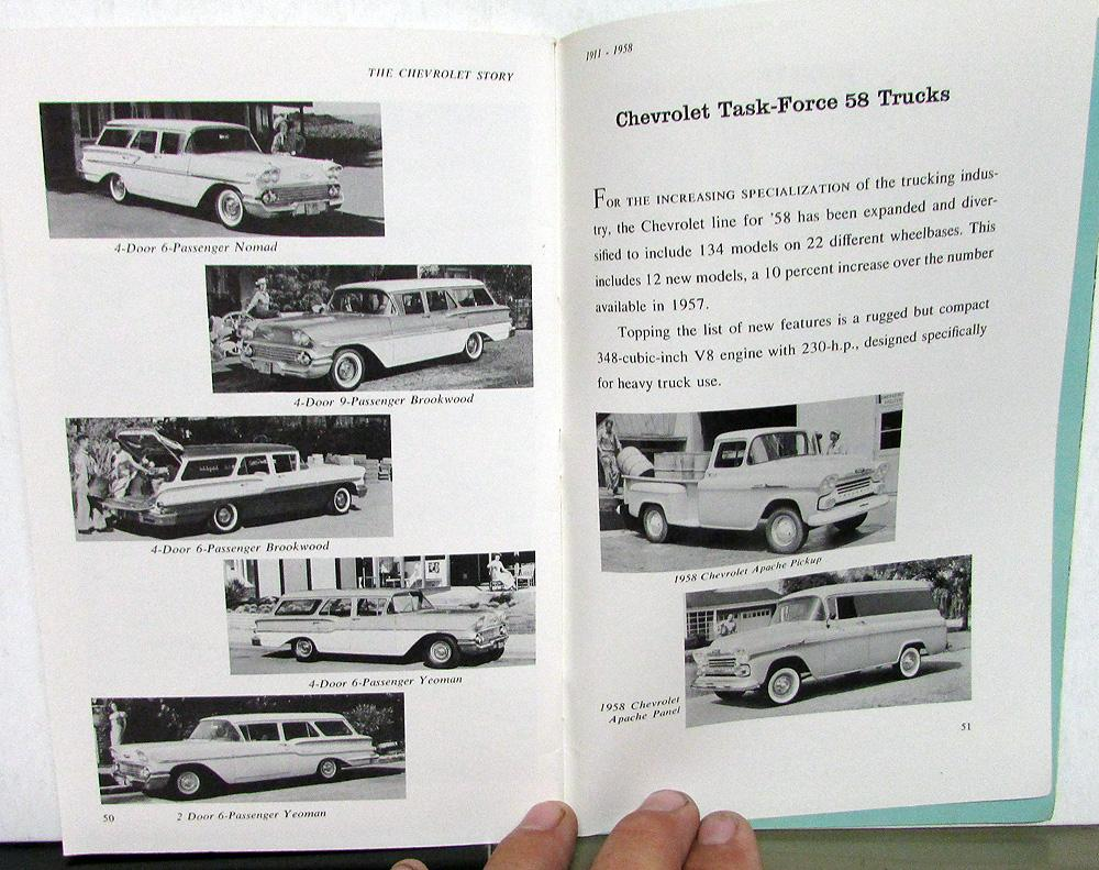 1911 1958 The Chevrolet Story Dealer Historical Book Brochure Bel 1957 Chevy Air Impala