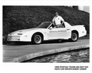 1989 Pontiac 20th Anniv Trans Am Indy 500 Pace Car Photo Poster 0031 Bobby Unser