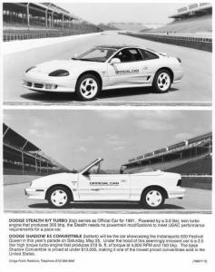 1991 Dodge Stealth R/T Turbo & Shadow ES Convertible Indy 500 Press Photo 0041