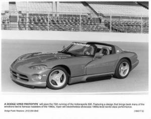 1991 Dodge Viper Prototype Indianapolis 500 Pace Car Press Photo 0043