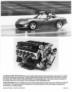 1991 Dodge Viper Prototype and V-10 Engine Indy 500 Pace Car Press Photo 0045