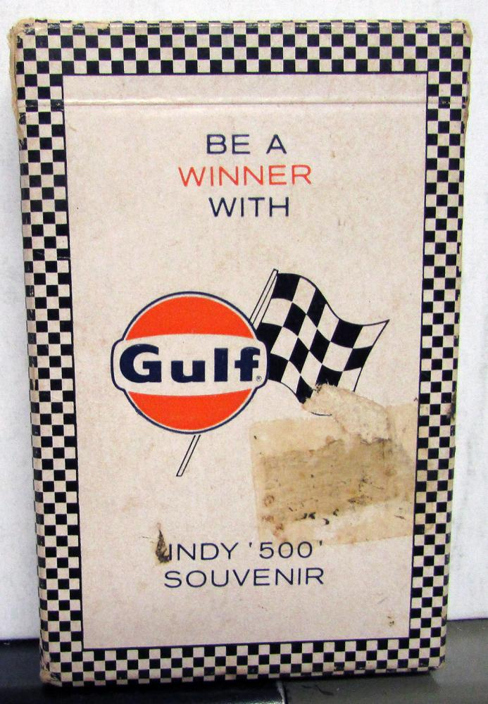 Vintage Gulf Oil & Gas Indy 500 Souvenir Playing Cards Set W/Box Memorabilia