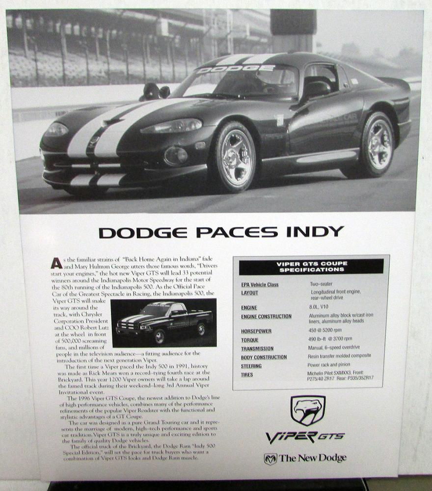 1996 Dodge Viper Memorabilia Collection Gts Indy 500 Pace Car Rt 10