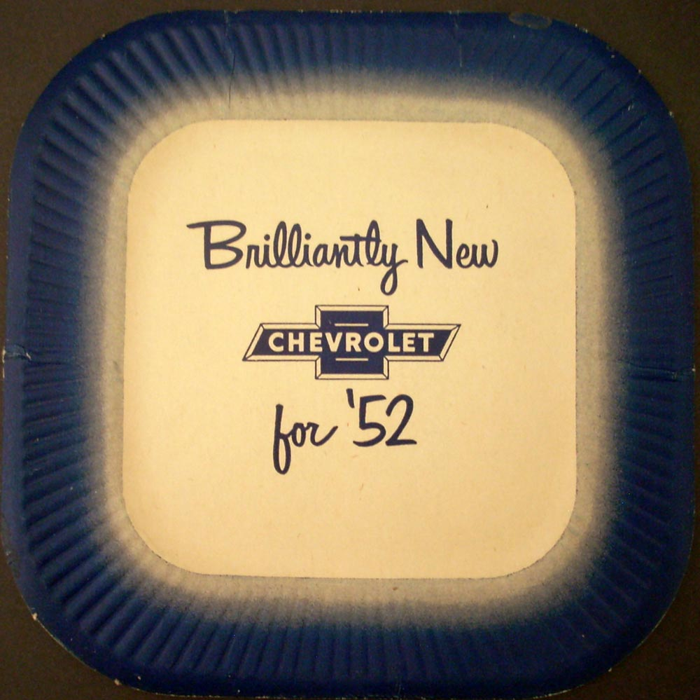 1952 Chevrolet Dealer Advertisement Paper Plate Brilliantly New For 52 Original