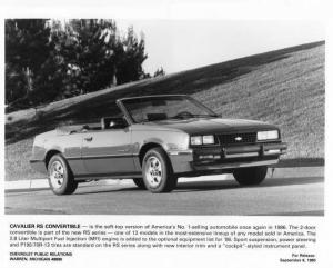 1986 Chevrolet Cavalier RS Convertible Press Photo 0102