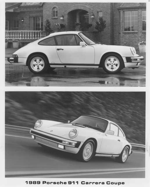 Porsche 911 V6 Horsepower: 1989 Porsche 911 Carrera Coupe Factory Press Photo