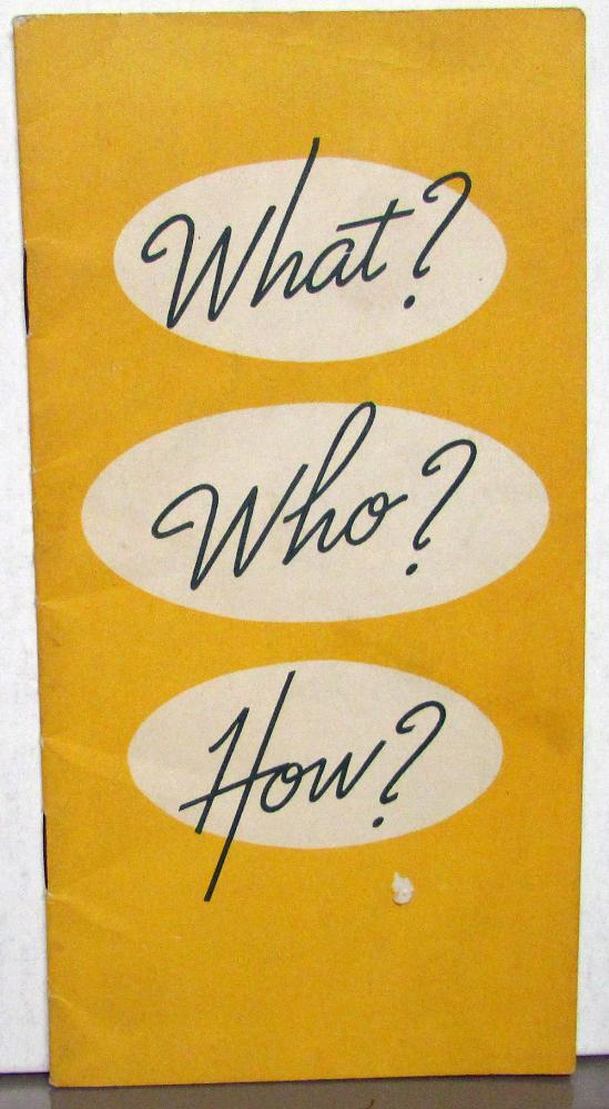 1939 Chevrolet Dealer Sales Training Pocket Booklet Brochure What Who How
