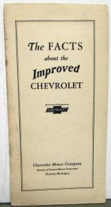 1926 Chevy Dealer Sales Brochure Original The Facts About The Improved Chevrolet